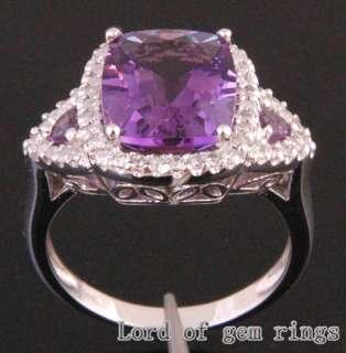 Amethyst .42ct Diamond 14K White Gold Pave Engagement Ring 7#