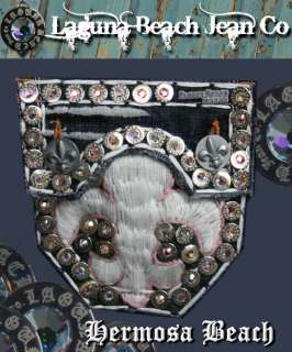 Laguna Beach Jeans Womens Embroidered WHITE MAGNUM w/ 2G AB Crystals
