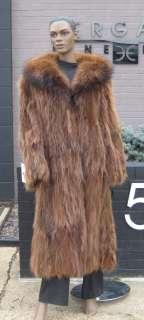 Brown Raccoon Fur Sections Full Length Coat Stroller Jacket XL