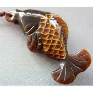 Ox Horn Hand Carved Fish Pendant Necklace