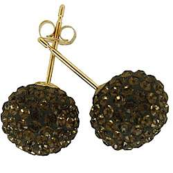 14k Yellow Gold Chocolate Brown Crystal Ball Stud Earrings