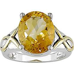 Sterling Silver and 14k Yellow Gold Citrine Ring