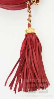 Chanel Vintage Red Leather Oval Tassel Gold Chain Handbag