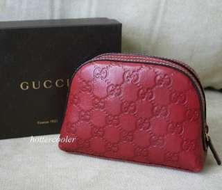 GUCCI Guccissima Zip Around Travel Case/Cosmetic Bag Clutch Red