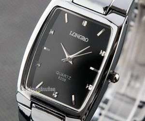 W287 Men Square Black Face Stainless Steel Wrist Watch