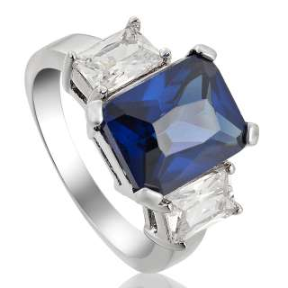 WEDDING Emerald Cut Fashion Jewelry Blue Sapphire Lady 18k Gold
