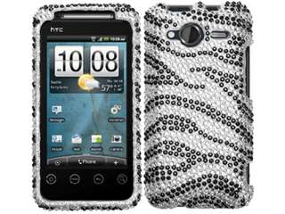 ZEBRA SILVER RHINESTONE BLING CASE COVER HTC EVO SHIFT