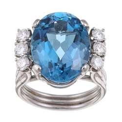 Platinum Blue Topaz and 3/4ct TDW Diamond Estate Ring (G H, VS1 VS2