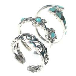 Sterling Silver Turquoise Toe Ring Set