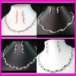 Bridal Wedding Austrian Crystal Necklace Earrings Set