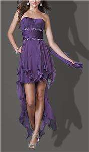 Birthday Party Evening Purple Cocktail Bridesmaid wedding Dress Gown