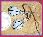 Grey Wh LadyBug Lady Bug Earrings Sterling Silver French Hooks Kirsten