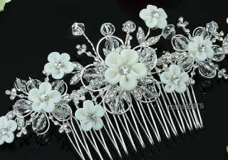 Bridal White Clay Ceramic Flower Crystal Handmade Hair Comb T1456