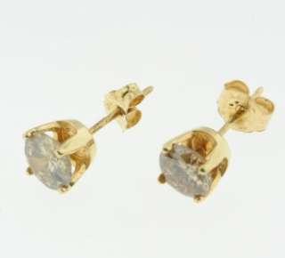 41 CARAT ROUND BRILLIANT DIAMOND STUD EARRING PAIR 14K YELLOW GOLD