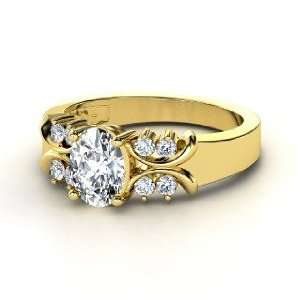 Gabrielle Ring, Oval Diamond 14K Yellow Gold Ring Jewelry