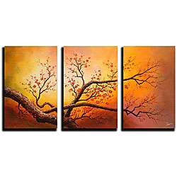 Hand painted Oil on Gallery wrapped Canvas Art (Set of 3)