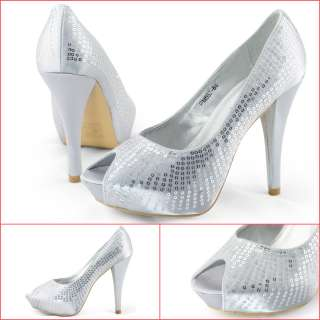 SHOEZY dress womens silver sequins open toe high heel platform shoes