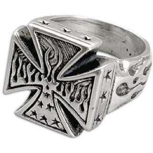 No Fear Maltese Cross Sterling Silver Ring  Sports