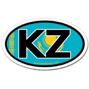 Kazakhstan KZ and Kazakh Flag Car Bumper Sticker Decal Oval