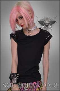 SC105 Black Punk Gothic Stud T shirt Top Rock Fashion