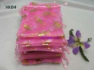Pink Love Heart Organza Wedding Gift Pouch 4X6inch XKB4