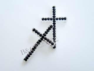Side Ways Crystal Rhinestones Cross Bracelet Connector Charm Bead 1pcs