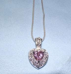 Silver Pink Heart Cubic Zirconia Pendant Necklace 18 New