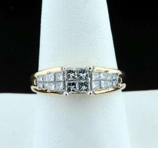 16 CARAT PRINCESS CUT DIAMOND ENGAGEMENT RING 14K YELLOW GOLD