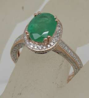 SOLID 14K ROSE GOLD NATURAL EMERALD & VS/G DIAMOND RING