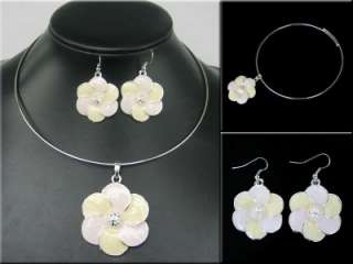 FASHION STYLE SILVER PLATED WHITE FLOWER SHAPED ENAMEL NECKLACE