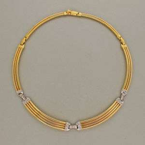 33 DIAMOND 18K YELLOW & WHITE GOLD CURVED HINGED LINK NECKLACE