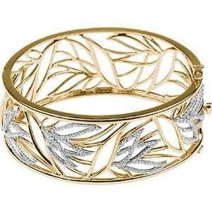 14K Yellow Gold Diamond Bangle Bracelet   1.50 Ct