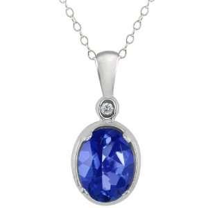 1.61 Ct Oval Sapphire Blue Mystic Topaz and Diamond 18k