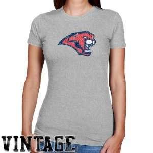 Houston Cougars Ladies Ash Distressed Logo Vintage Slim