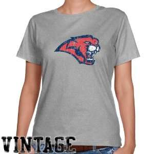 Houston Cougars Ladies Ash Distressed Logo Vintage Classic