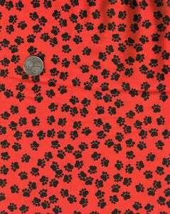 Black PAW PRINTS on Red Cat Dog Quilt Fabric FQ FQs