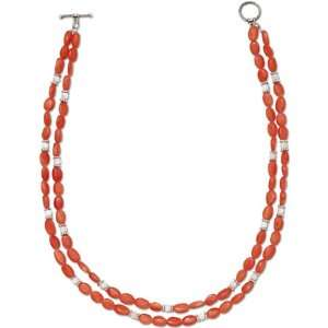 Sterling Silver Carnelian And Pearl Color Bead Necklace