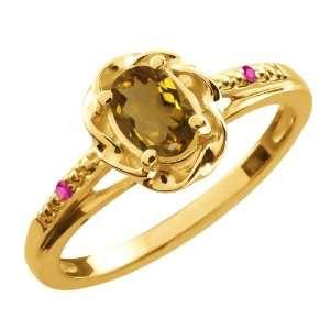 0.57 Ct Oval Whiskey Quartz Pink Sapphire 18K Yellow Gold