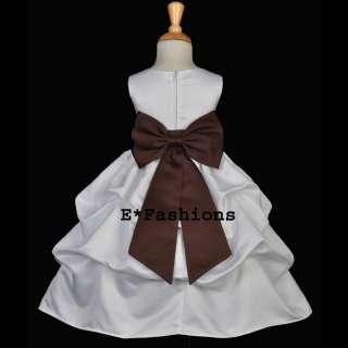 WHITE BROWN CAFE WEDDING PRINCESS FLOWER GIRL DRESS 6M 9M 12M 18M 2 3