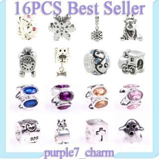 mixed Silver crystal beads for European bracelet X mas gift charms YV6