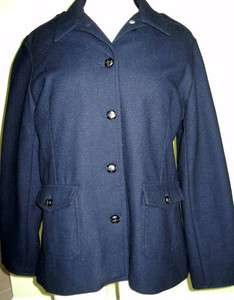 REDUCED* G.H. BASS & Co. WOMENS SIZE LARGE Navy Blue 100% wool Pea