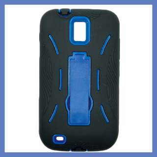 for TMOBILE Samsung Galaxy S II T989 Heavyduty Case w/ Blue Kick Stand