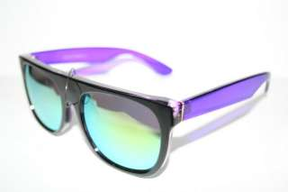 Top Nerd Sunglasses Shades Super Black Clear Purple Frame green Mirror