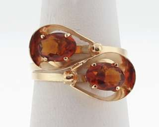 Estate Natural Citrines Solid 18k Gold 750 Hand Made Ring