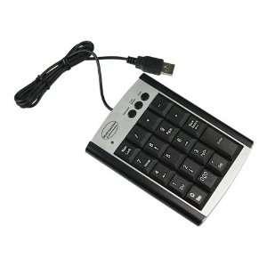 Black USB Numeric Keypad Keyboard for Laptop w/ 22 Keys