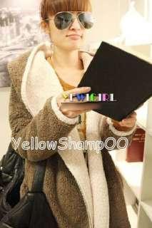 new women hooded fluff warm jacket brown free size