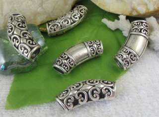 20 Tibetan silver floral tube fit charm bracelet FC9165