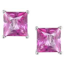 10k White Gold Square Pink Topaz Earrings