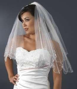 BEADED 2 TIER ELBOW BRIDAL WEDDING VEIL White or Ivory