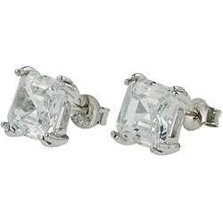 Sterling Silver Cushion cut CZ Stud Earrings